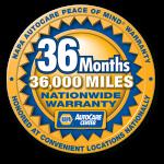 36 Month 36,000 Mile NAPA Nationwide warranty