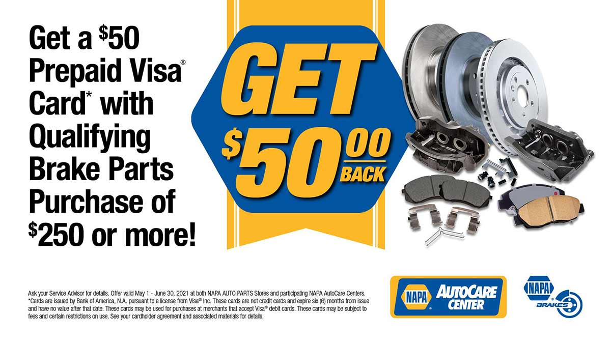 Get $50 Back on select NAPA Brakes